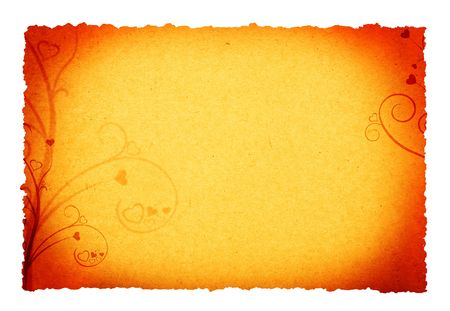 flower and heart ornament designs on parchment paper background photo