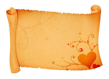 beautiful love ornaments on scroll paper background photo