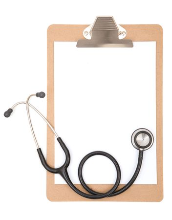 workplace wellness: medical concept with stethoscope and clipboard on white Stock Photo