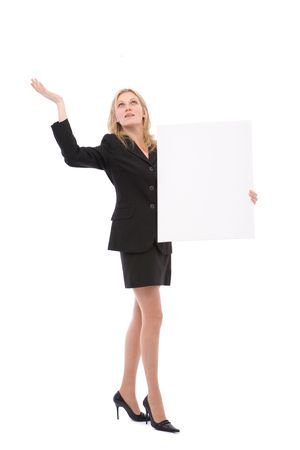 businesswoman at a presentation with a blank message sign photo