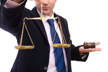 adjourned: law concept in business with businessman, gavel and scales of justice Stock Photo