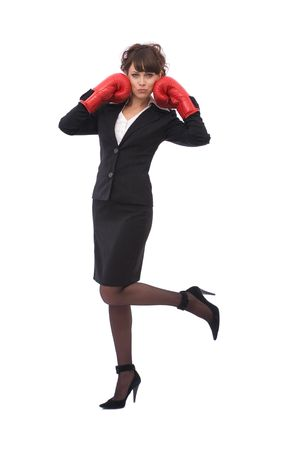 beautiful businesswoman with boxing gloves on white Stock Photo - 2788485