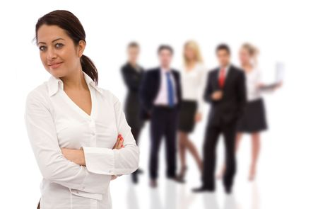 business teamwork concept with a beautiful businesswoman and her team Stock Photo - 2788473
