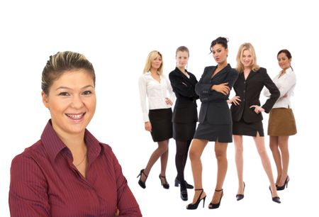 co worker: teamwork concept with only businesswoman on white background Stock Photo