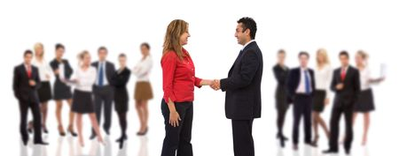 co worker: business handshake with lots of business people on white background