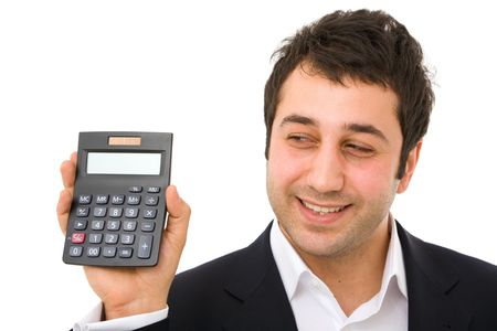 business finance concept with calculator and happy businessman photo