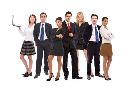 co worker: business teamwork concept with business people together on white Stock Photo
