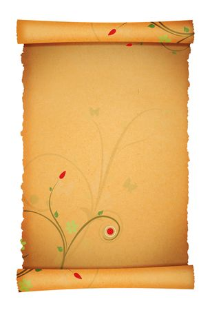 old paper background with flower ornament design photo
