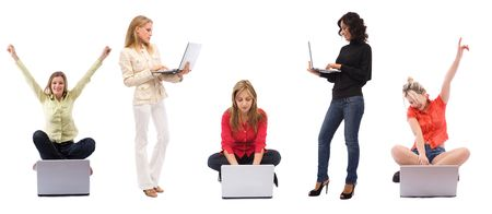 young and beautiful women with laptops on white background