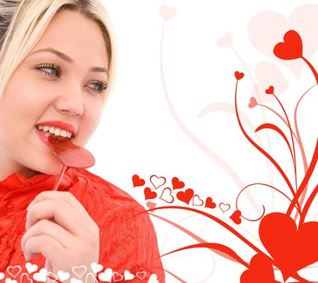 beautiful girl with heart shape and ornaments on white background photo