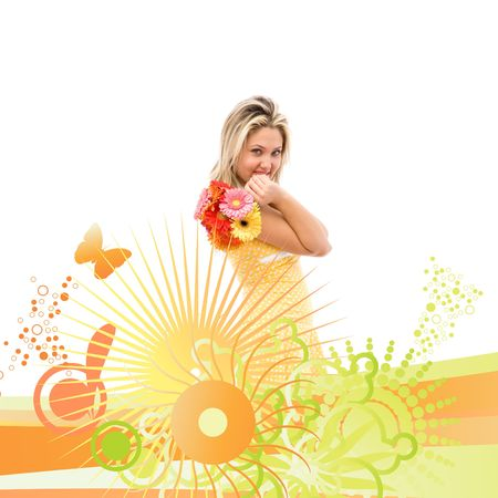 beautiful woman with flowers and floral ornaments  photo