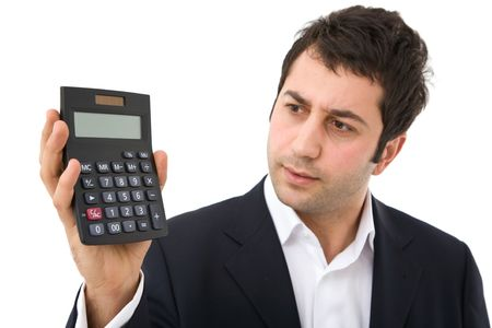 businessman holding a modern calculator on white background Stock Photo - 3105589