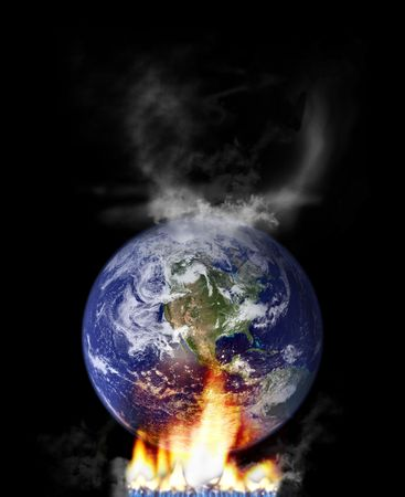 global warming concept with globe and fire. http:veimages.gsfc.nasa.gov copyright statement: http:www.visibleearth.nasa.govuseterms.php photo