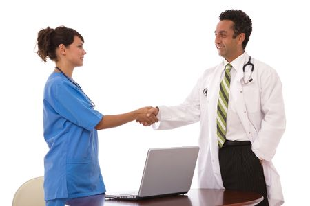 medical teamwork concept with doctors working photo