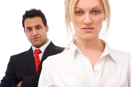 multi national: teamwork concept with businessman and businesswoman Stock Photo