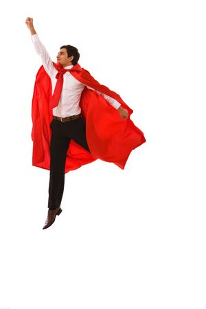superhero concept for business with a young businessman jumping high photo
