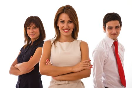 co worker: business people together for teamwork concept on white background