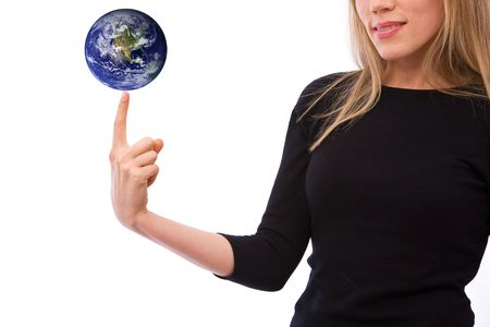 online internet presence: global business concept with a globe and businesswoman. globe: http:veimages.gsfc.nasa.gov2429globe_east_2048.tif copyright statement: http:www.visibleearth.nasa.govuseterms.php Stock Photo