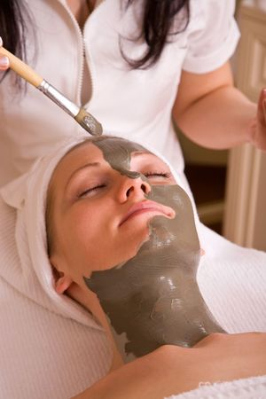 soothe: wellness concept with face care spa therapy session Stock Photo