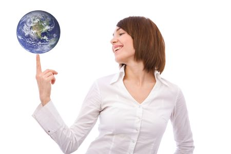 online internet presence: businesswoman with a globe on white background. globe used from http:veimages.gsfc.nasa.gov  copyright statement: http:www.visibleearth.nasa.govuseterms.php Stock Photo