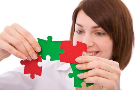 beautiful businesswoman with colorful puzzles for problem solving Stock Photo - 3670632