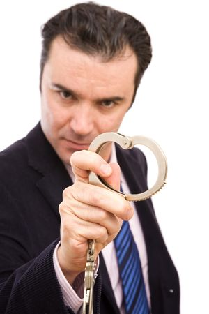 businessman with a handcuff ready to catch on white photo