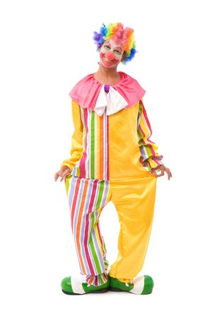 clown cirque: funny clown faire un visage sur fond blanc