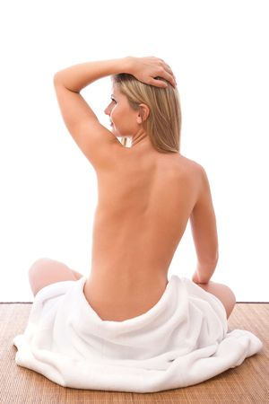beautiful woman with a towel for spa concept on white Stock Photo - 3691850