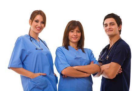 medical team portrait together on white background