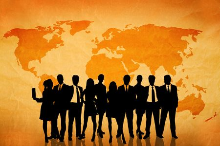 global business concept with world map and business people silhouettes Map used to trace http:www.lib.utexas.edumapsworld_mapsworld_pol02.jpg Their copyright statement: http:www.lib.utexas.edumapsfaq.html#3.html photo