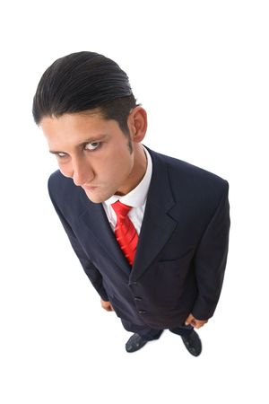 suspicious and funny businessman portrait from top on white photo