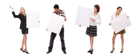 business presentation concept with lots of different business people with blank boards