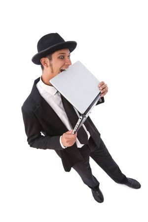 funny looking computer hacker with a laptop on white Stock Photo - 3772051