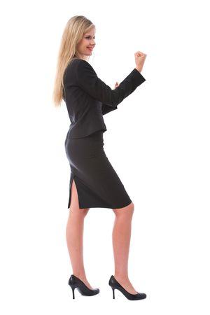 beautiful businesswoman ready to fight on white Stock Photo - 3772045