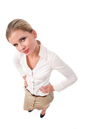 businesswoman portrait on white taken from top Stock Photo - 3772052