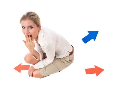 business problem and solution concept with businesswoman and arrows Stock Photo - 3772047