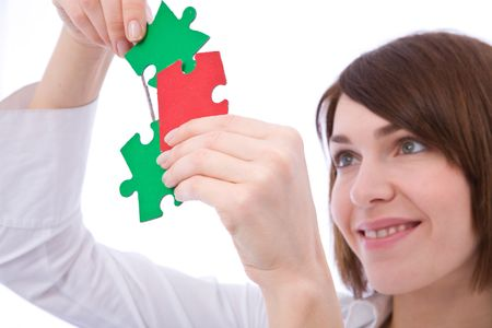business problem and solution concept with colorful puzzles Stock Photo - 3823115