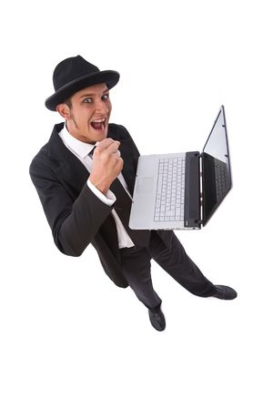 angry businessman ready to break his laptop on white from top photo