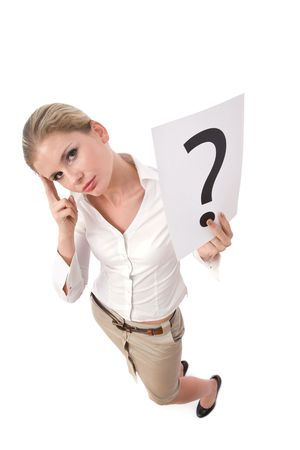businesswoman with question mark sign on white background Stock Photo
