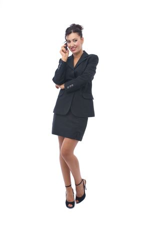 telework: business communications concept with businesswoman on the mobile phone