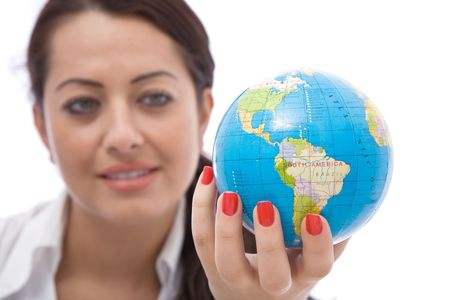 business communications concept with a businesswoman holding globe Stock Photo - 3866127