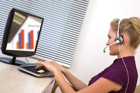 caller: customer service representative at the office with computer