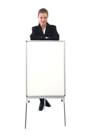 Young beautiful businesswoman with blank white board for your messages  photo