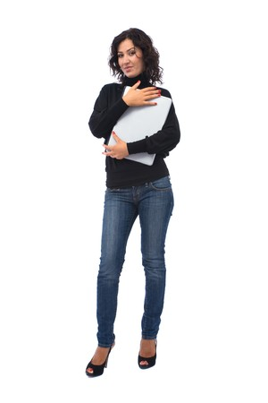 Young and beautiful woman holding a blank board  photo