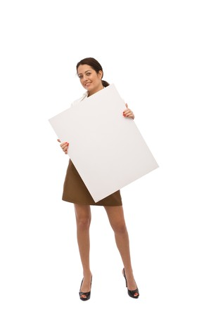 young businesswoman with blank board for your messages photo