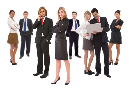 teamwork concept with lots of business people on white Stock Photo