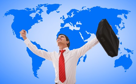 world map vector design with happy businessman. photo