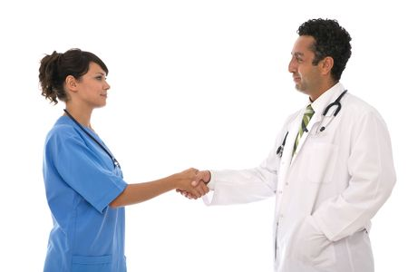 Medical agreement concept with a doctor on white background photo
