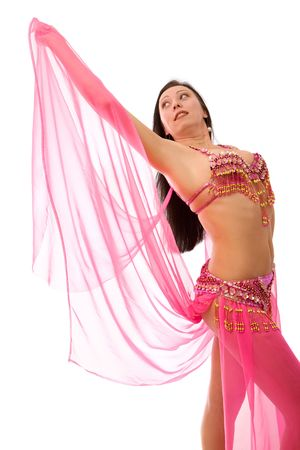 Beautiful belly dancer in red  photo