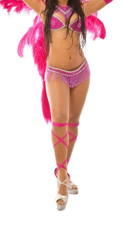 samba dancer with pink dress on white background